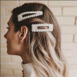 Faux Pearl Triangle Rectangular Hair Clip Set